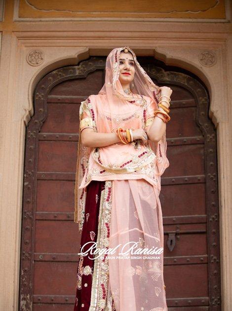 multicolour rajputi poshak - royal dress