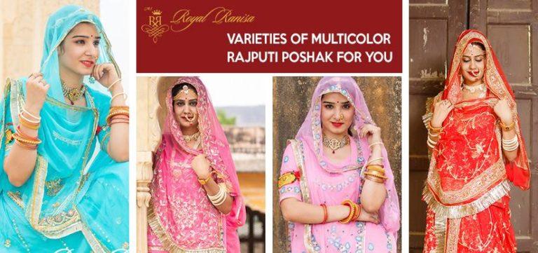 varieties of multicolour rajputi poshak